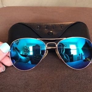 2c14d022b9 Diff Eyewear Accessories - Diff Charitable Sunglasses- Cruz Gold +Blue  Mirror